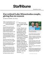 Click for pdf: For retired Lake Minnetonka couple, giving has no season